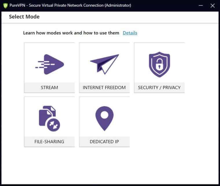 Screensht of PureVPN's mode selection.