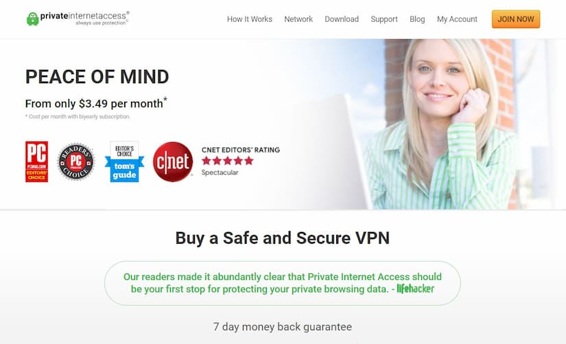 Screenshot of PIA VPN homepage.