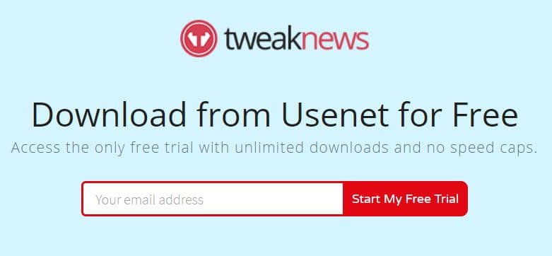 Screenshot of TweakNews' free trial sign-up..