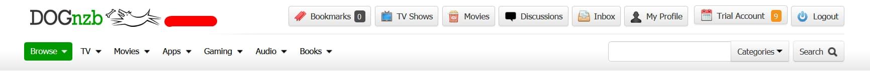 Capture d'écran du site DogNZB.