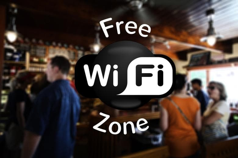 Free WiFi zone logo imposed over bar scene photo