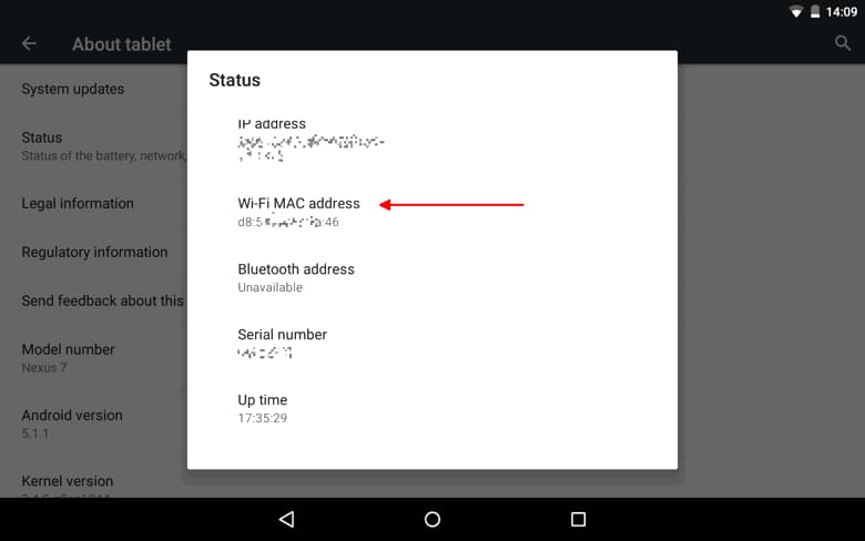 Screenshot of Android MAC address