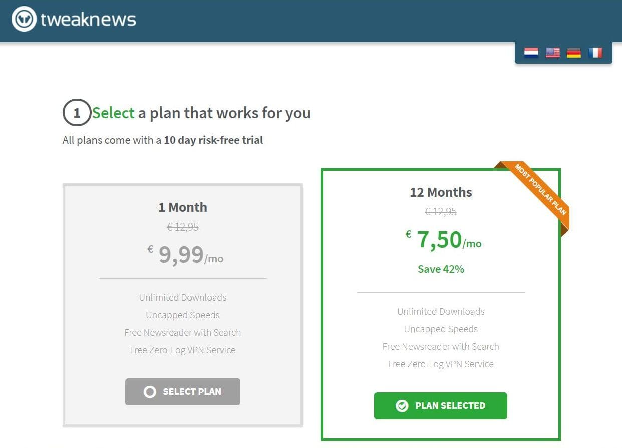 Screenshot from TweakNews website with discounted prices