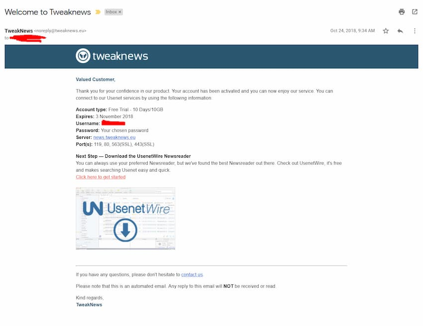 Screenshot of email received from TweakNews