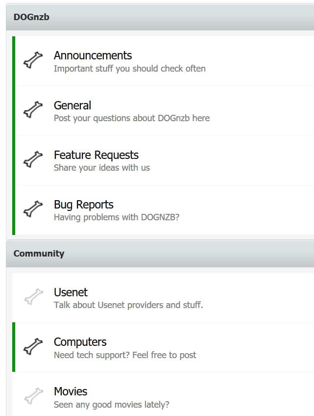 Screenshot of DOGnzb's user forums
