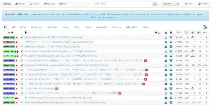 Skjermbilde av AniDex hjemmeside