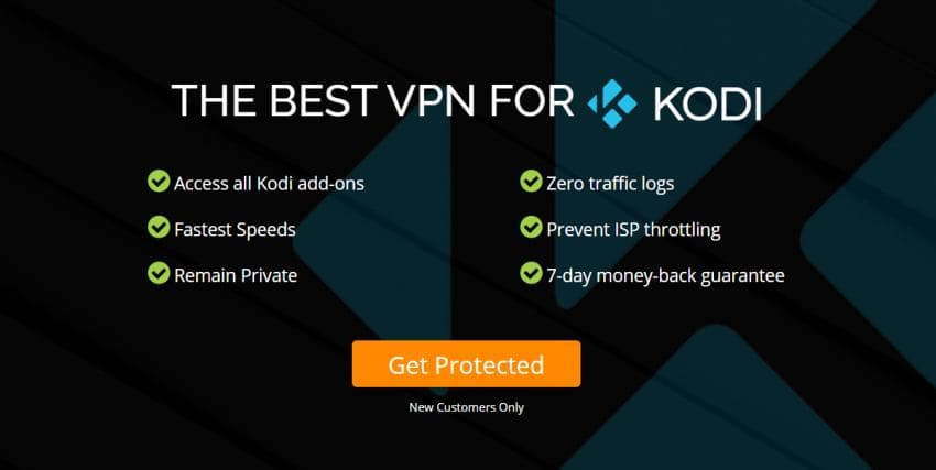 Screenshot of Kodi VPN features
