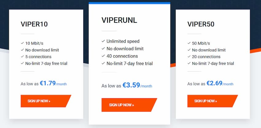 Screenshot of ViperNews monthly plan prices