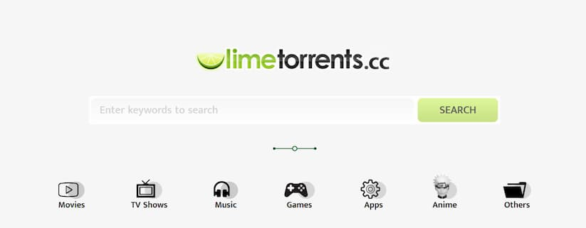 Capture d'écran de LimeTorrents