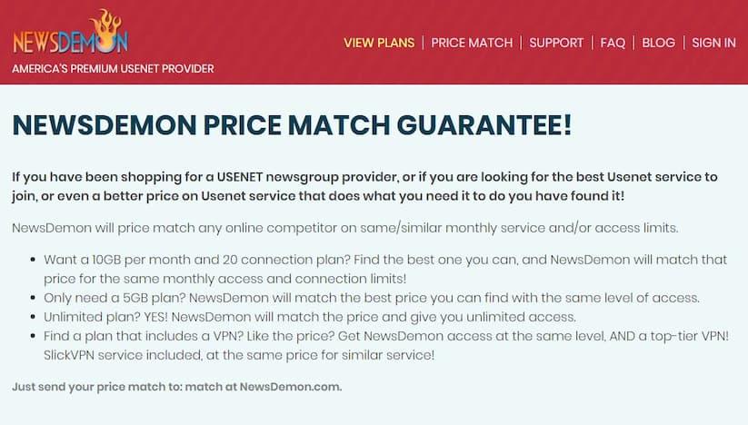 Screenshot from NewsDemon price match guarantee webpage