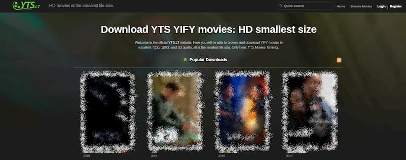 YTS (YIFY torrents) website screenshot