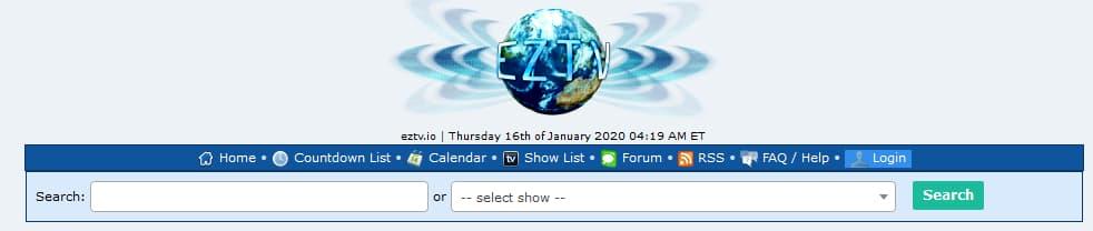 EZTV popular TV show torrent site.