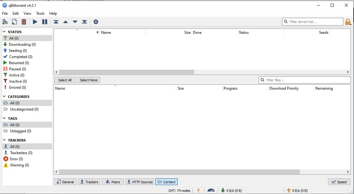 Zrzut ekranu qBittorrent UI