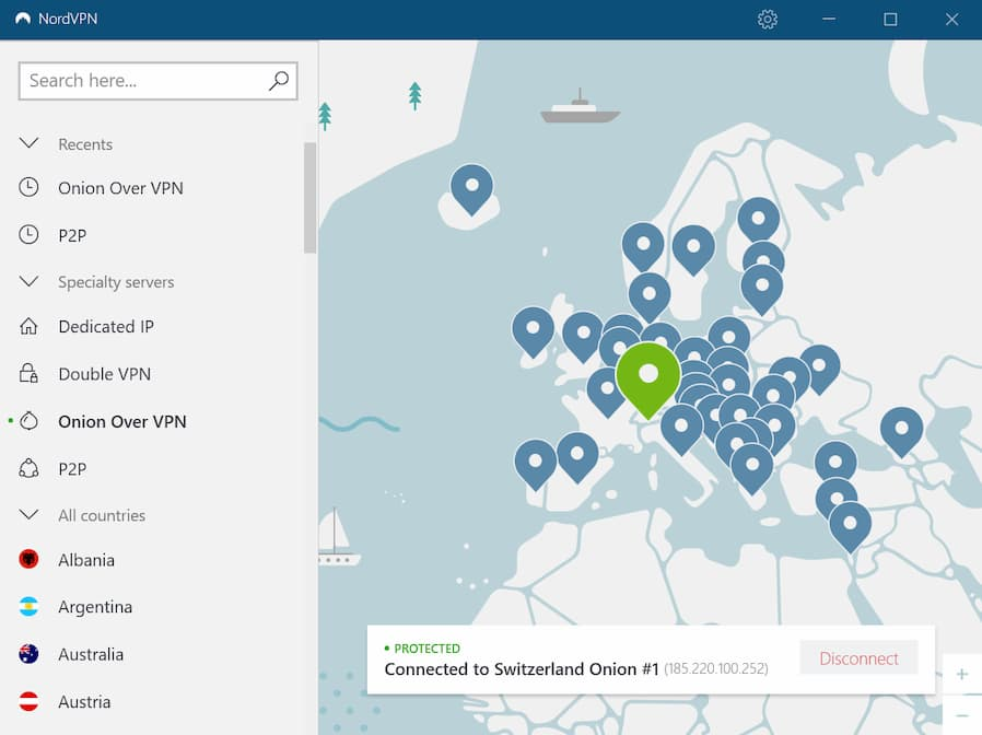 Screenshot: NordVPN's Map View