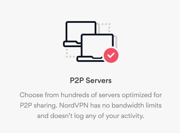 boks: NordVPN P2P-servere