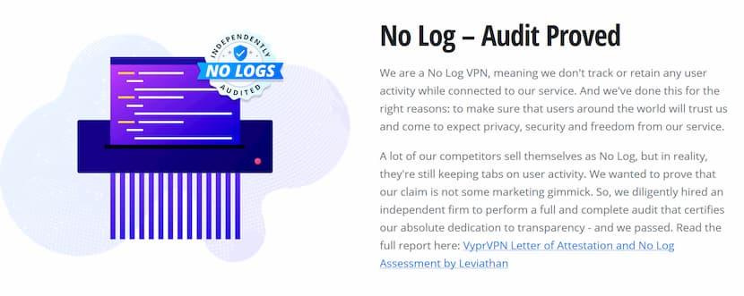 Audited No Logs VPN