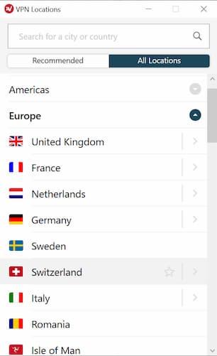 Server List Europe