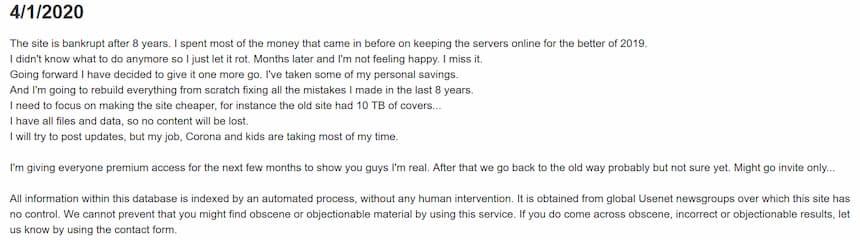 Usenet-Crawler Reopen Announcement