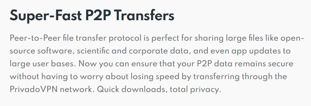 PrivadoVPN P2P.